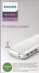 تصویر  پاور بانك PHILIPS Power Bank 13000mAh DLP2713NW97 White